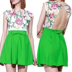 Dresses & Skirts - Floral Embroidery Mesh A-Line Mini Dress Size S